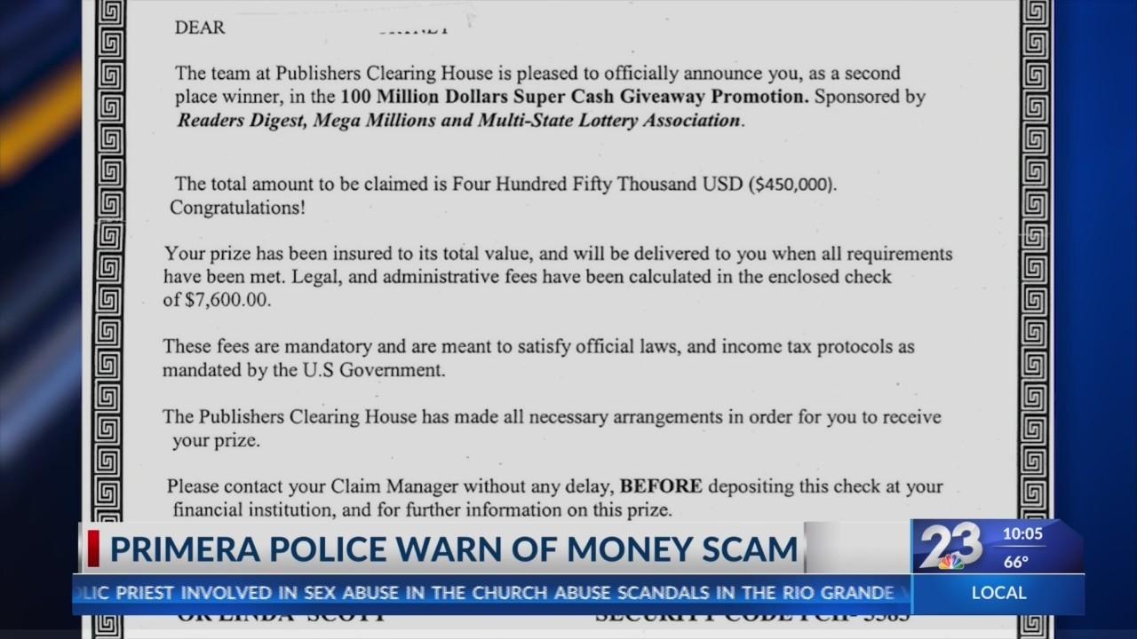 Primera police warn of money scam